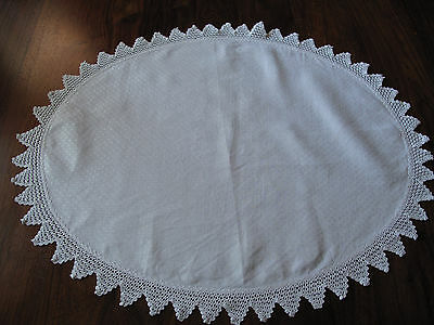 Vintage hand made lace triangle edged Damask large oval mat runner so beautiful