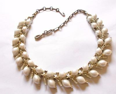Vintage 1950's Signed Lisner Pearl Panel Clear Crystal Decorative Necklace
