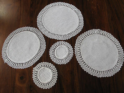 Vintage hand made lace edged Damask set of 5 mats so beautiful