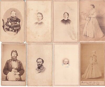US circa 1860's 1865 1866 REVENUE PAID PHOTO PICTURES x 7 B&W x 1 colour