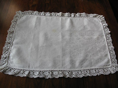 Vintage hand made lace edged Damask large oblong runner so beautiful