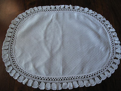 Vintage hand made lace edged Damask large oval mat with bell like edge so pretty