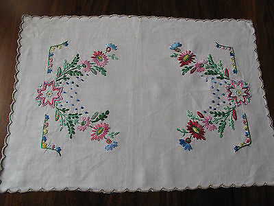 Vintage hand embroidered linen traycloth with masses of flowers so pretty