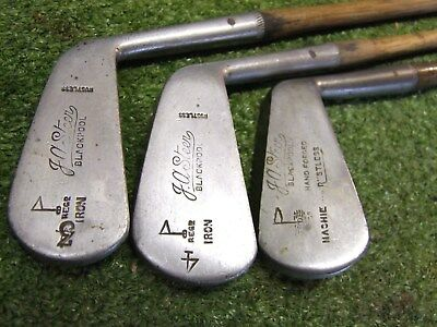 3 Vintage Hickory matched Irons JA Steer Blackpool SW C1  old golf memorabilia