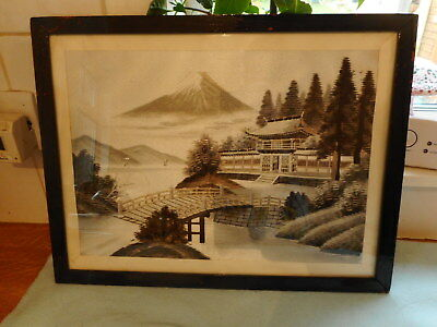 Beautiful Framed Fine  Japanese  Floral  Silk Embroidery  Mount Fuji