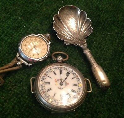 scrap silver fob watch and spoon
