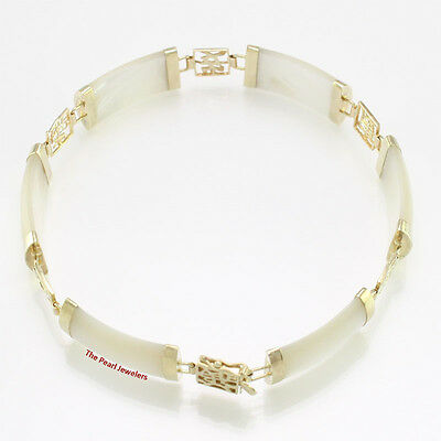 """Five Good Luck Partitions & Six Mother of Pearl Segments 14k Bracelet 7.25"""" TPJ"""