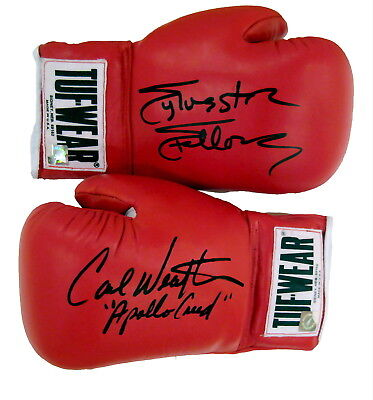 Sylvester Stallone Rocky & Carl Weathers Autographed Tuf Wear Gloves ASI Proof