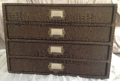 Rare Vintage Post Office Wooden Desktop Filing Drawers Cabinet Faux Reptile Skin