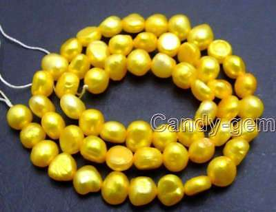 "SALE small 6-7mm Gold Natural Freshwater BAROQUE Pearl Loose Bead 14""-los595"