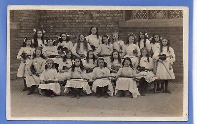 SUPERB RARE 1920c GIRLS VIOLIN ORCHESTRA BAND MUSIC BEDFORD RP PHOTO POSTCARD