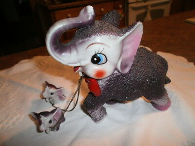 VTG Japan Mother Elephant w 2 Babies on Chains iFigurine Purple Anthropomorphic