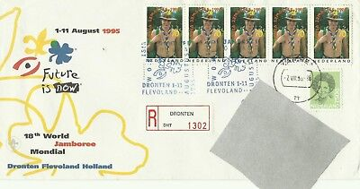 1995 Registered Cover From Boy Scout World Jamboree To Hungary From Netherlands