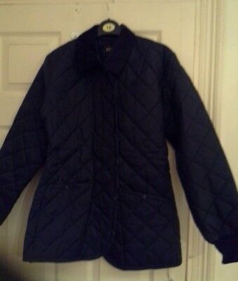Ladies navy quilted jacket, new, size 14