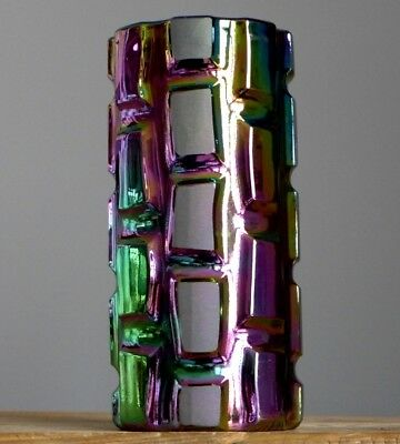 Vintage IRIDESCENT Glass Geometric Vase German Art Fat Lava Era Space Age