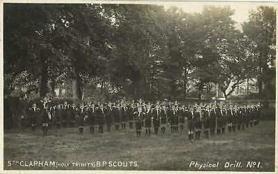 5th CLAPHAM (HOLY TRINITY) BADEN POWELL SCOUTS DOING PHYSICAL DRILL POSTCARD