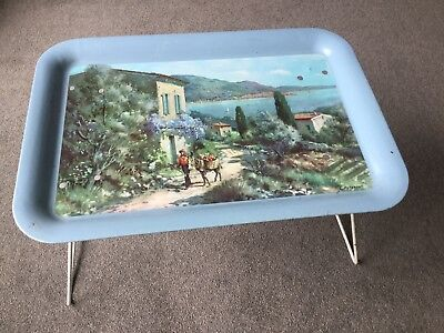 Vintage 1950s 1960s Metal Folding Table Tray