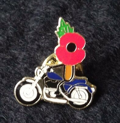 Poppy motorcycle enamel pin badge.