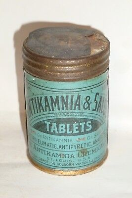 Nice Old Anitkamnia Pain Pills Advertising Pharmaceutical Medicine Tin Can Blue