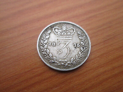 """1875 Queen Victoria """"young Head"""" Silver Threepence - Good Clear Inscription"""