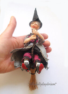 Miniature Handmade WITCH Poseable Ooak Doll House doll by Sally Freeman