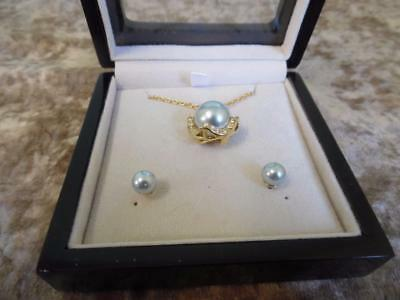 Stunning Amanda Suarez Ocean Blue Pearl Necklace & Matching Stud Earrings
