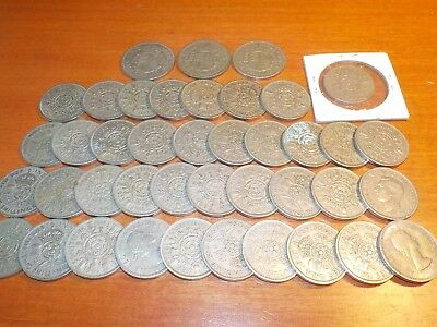 Mixed Lot of Circulated Coins from England     Half Crown and 2 Shilling