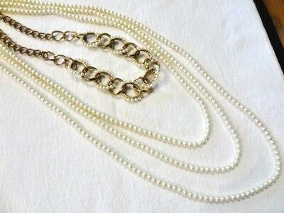 Vintage Four Strand Faux Pearl Lrg Chain Links Flapper Style NECKLACE