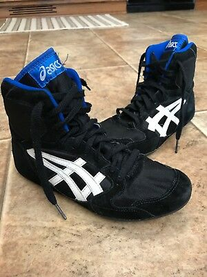 Asics Blue Black High Top Wrestling Shoes Leather & Polyester JL494 Youth  5.5