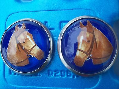 Bridle Rosettes Horse Head pair blue background glass face new