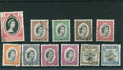 Grenada.11-- Qe2 1953/5  Mm/used Stamps On Stockcard