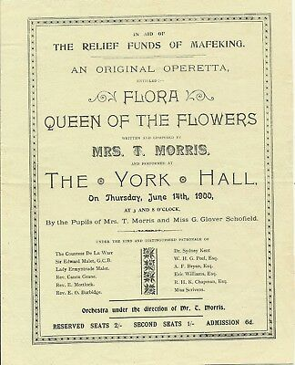 1900 Flyer For Operetta In Aid Of Relief Fund For Mafeking- Baden Powell Bexhill