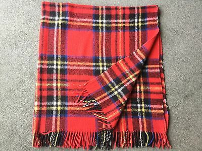 "vintage Red Tartan Blanket Travel Rug Throw  54"" x 60"""
