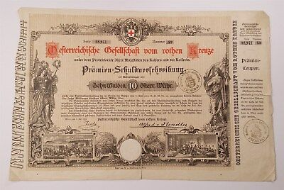 MB.044) AUSTRIA 10 gulden 1882 / Red Cross Bond / Fiume Rijeka seal / large size