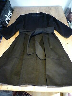 Exquisite ISABELLA OLIVER Classic Black Pure Wool Belted Coat, Maternity, 3, 12