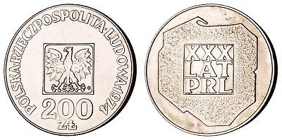 MG.042) POLAND 200 zlotych 1974 / 30th Anniv. of Peoples' Republic / Silver / XF