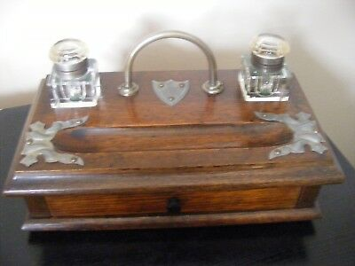 Antique Vintage Double Glass Inkwell On Wooden Stand