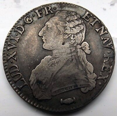 Higher Grade  French 1777 Louis Xvi Silver Ecu(Crown Size) Coin