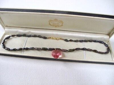 Vintage Black FRESHWATER PEARLS Necklace Pink Love Heart GOLD Plated Jewellery