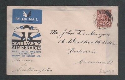 2 x 1934 Covers, 1st Railway Air Services Airmail Cowes to Southam