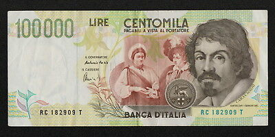 ITALY (P117b) 100,000 Lire D.1992(1995) VF/VF+ Serial # letters -C/-