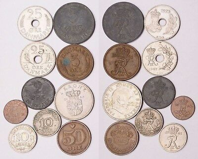 ME.131) DENMARK coins lot / 10 pcs.