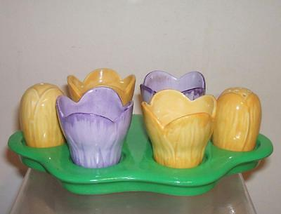Carlton Ware Crocus Egg Cup And Cruet Set