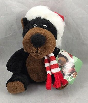 Crispin Sears 2010 Brown Black Bear Dated Winter Christmas Charity Plush Toy 5.5