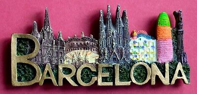 Souvenir Fridge Magnet Barcelona All The Sights Spain