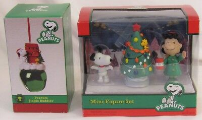 NOS Lot of 2 Peanuts MINI FIGURE SET & JINGLE BUDDIES Bell Ornament CHRISTMAS