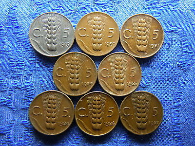 ITALY 5 CENTESIMI 1919-1924, 1926, 1927, KM59 (8) some corrosion