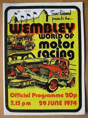 Wembley World of Motor Racing 29th June 1974 Hot Rod stock car programme