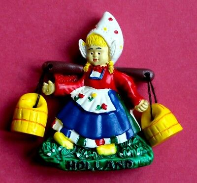 Souvenir Fridge Magnet Holland Milk Maid In Traditional Dress