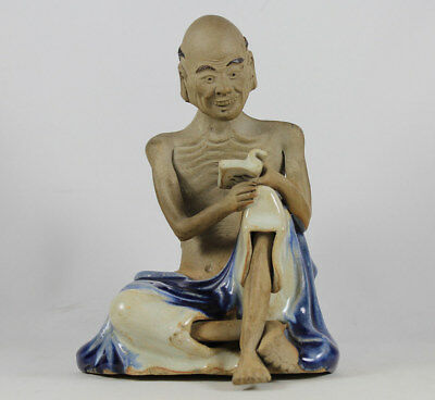 Antique Chinese Shiwan Ware Pottery Polychrome Luohan Figure